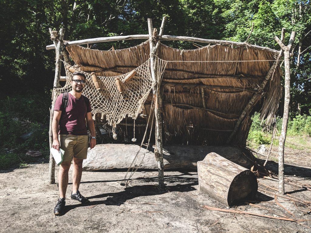 Arbeitsstelle für das Knüpfen von Fischernetzen