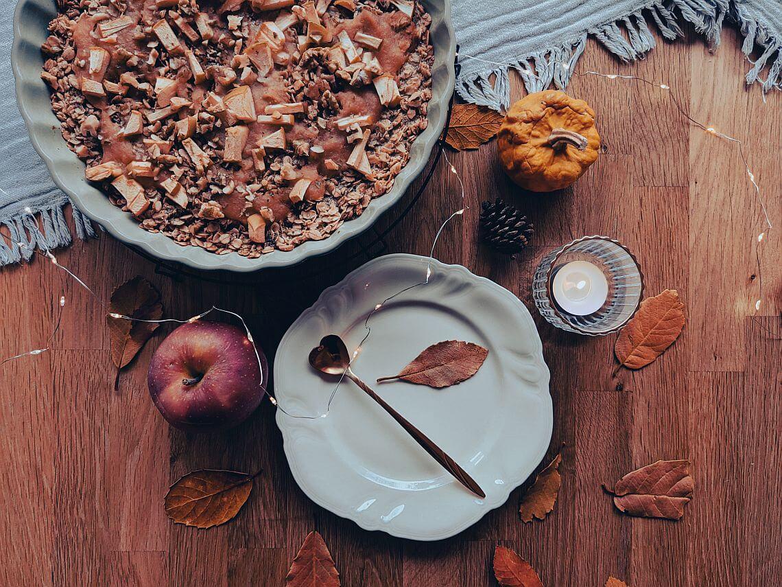 Rezept für Gebackene Haferflocken mit Apfel, Zimt und Nüssen